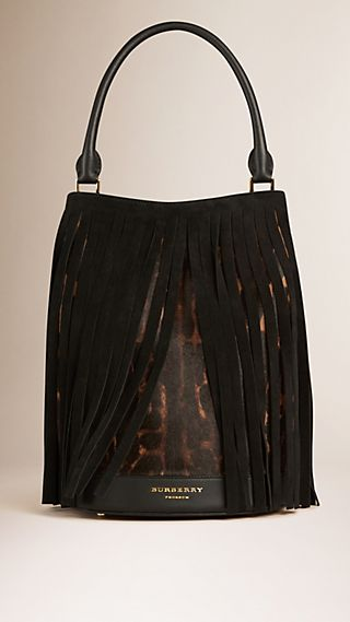 The Bucket Bag in Animal Print Calfskin and Fringing