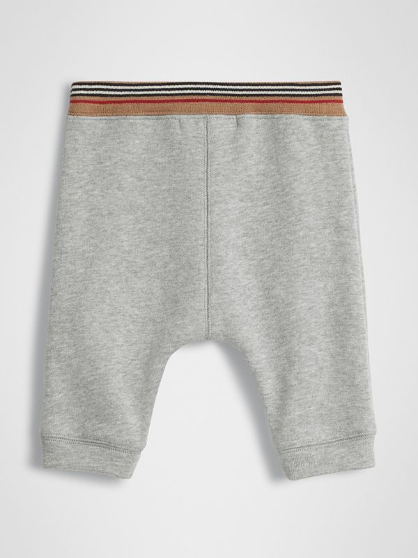 Icon Stripe Cotton Jersey Sweatpants in Grey Melange - Children | Burberry United Kingdom - cell image 3