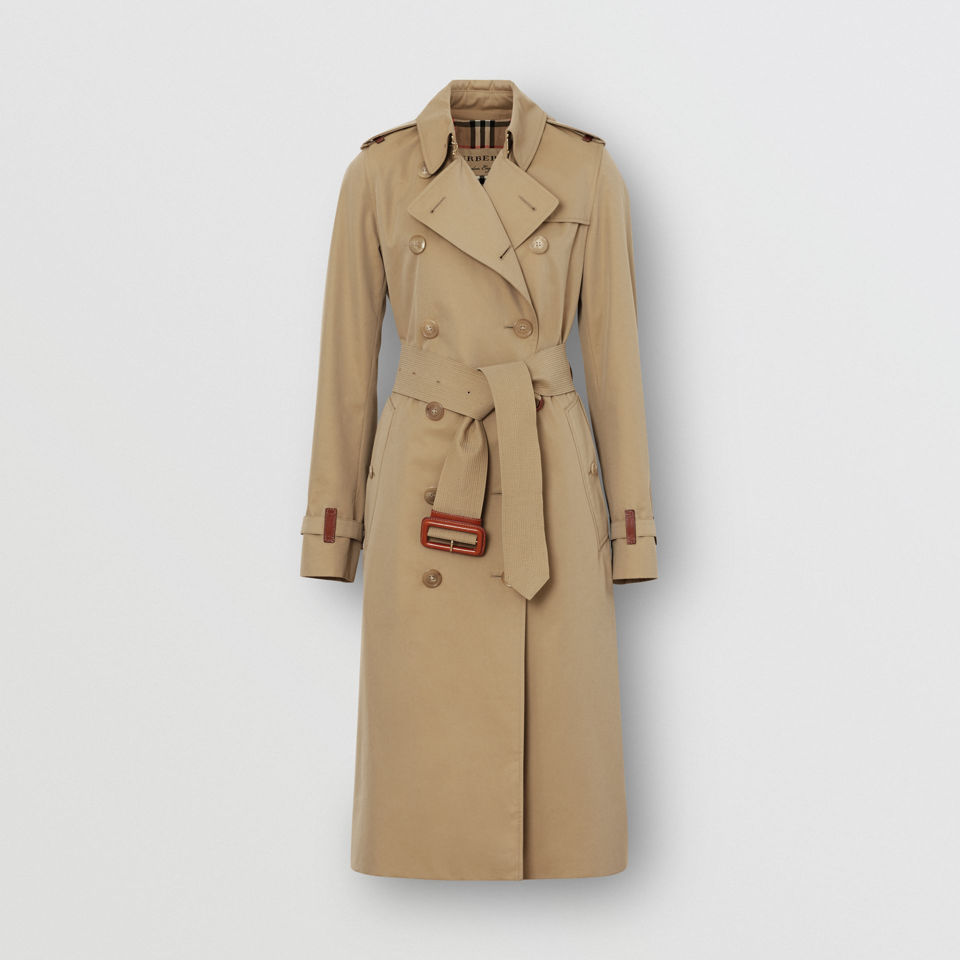 Leather Detail Cotton Gabardine Trench Coat in Honey - Women | Burberry - gallery image 3