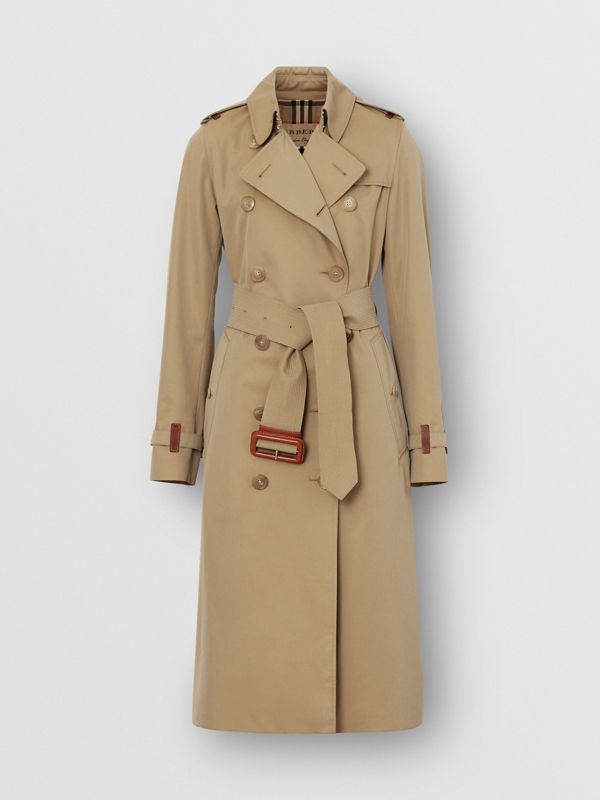 Leather Detail Cotton Gabardine Trench Coat in Honey - Women | Burberry - cell image 3