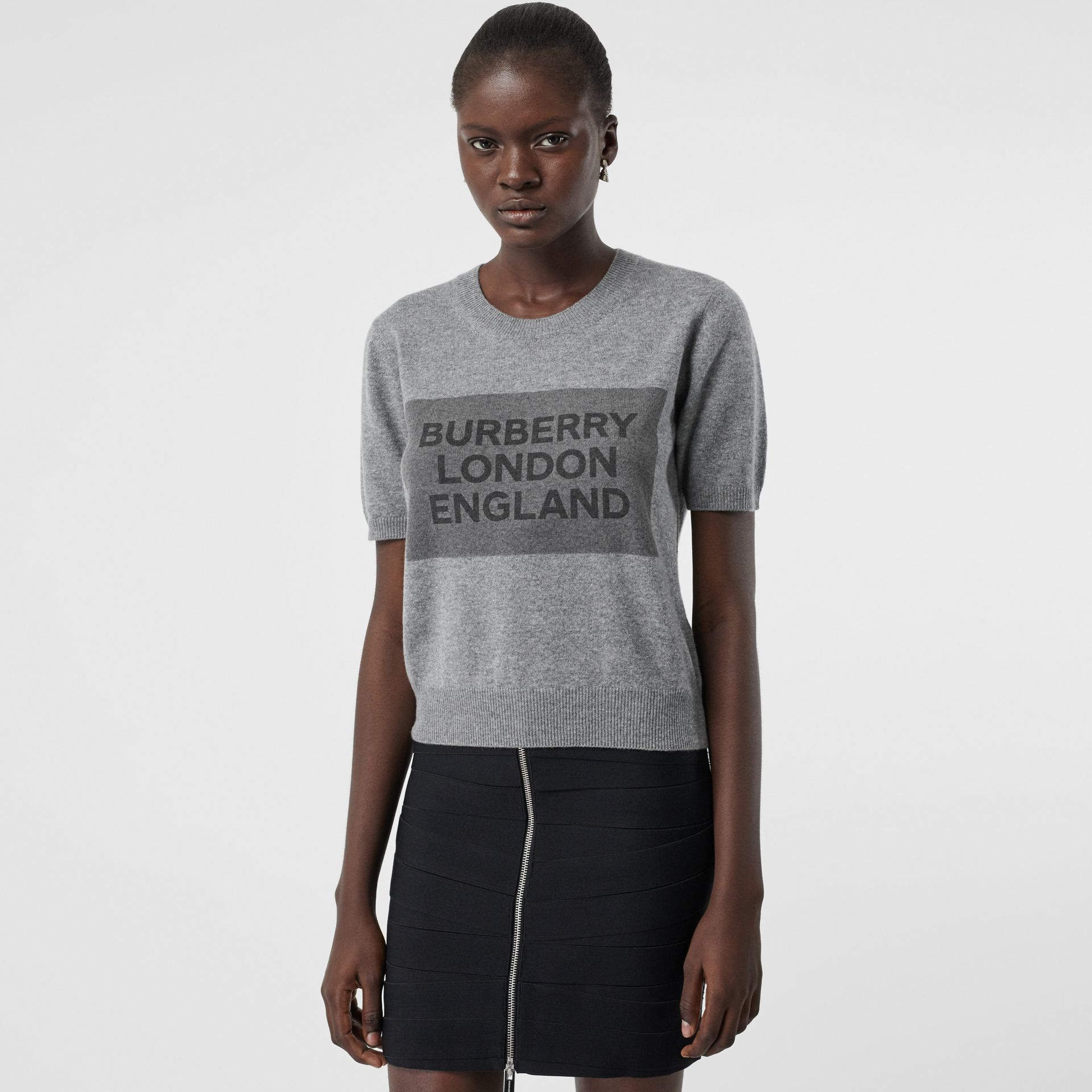 Short-sleeve Logo Detail Cashmere Top in Grey - Women | Burberry - gallery image 0