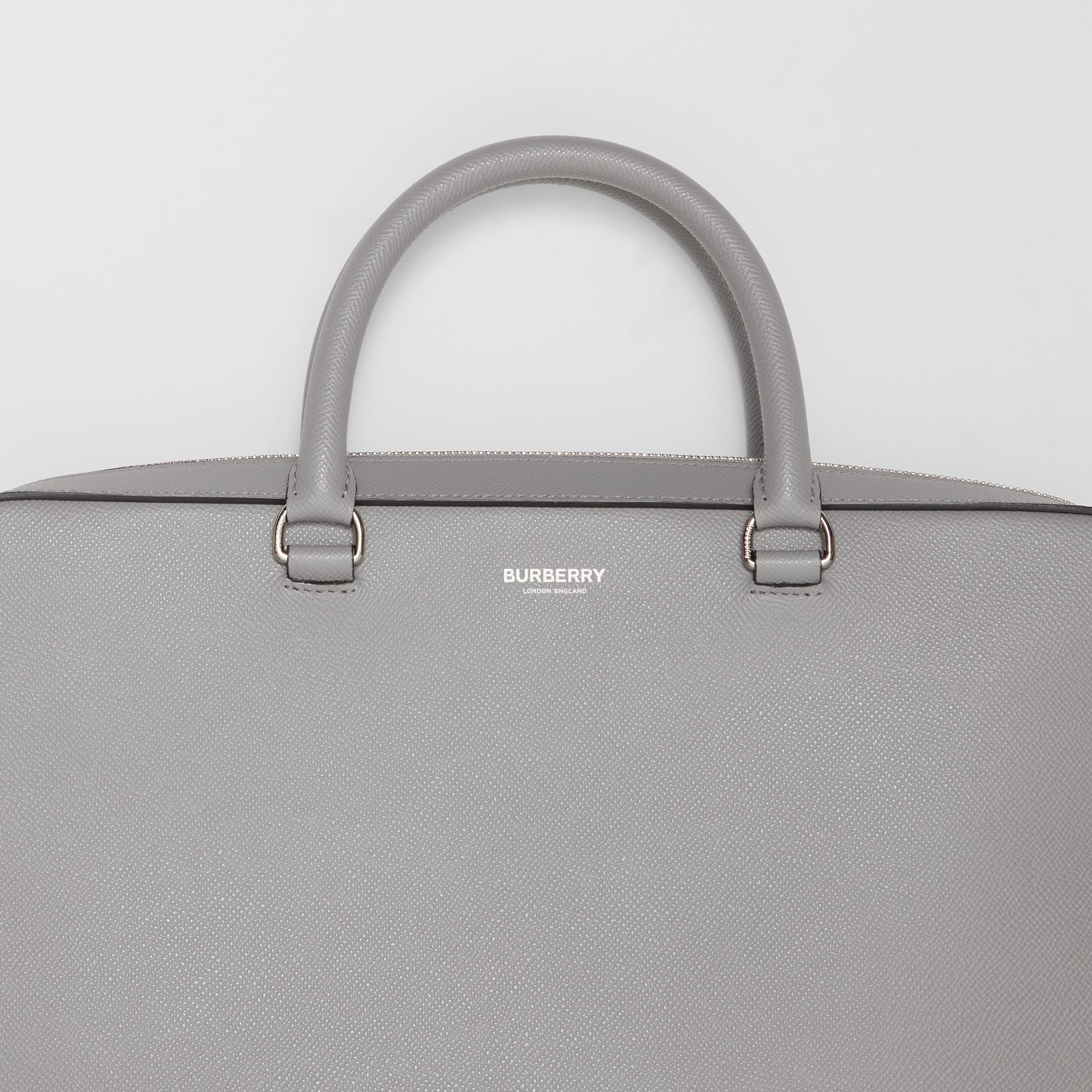 Grainy Leather Briefcase in Cloud Grey - Men | Burberry - gallery image 1