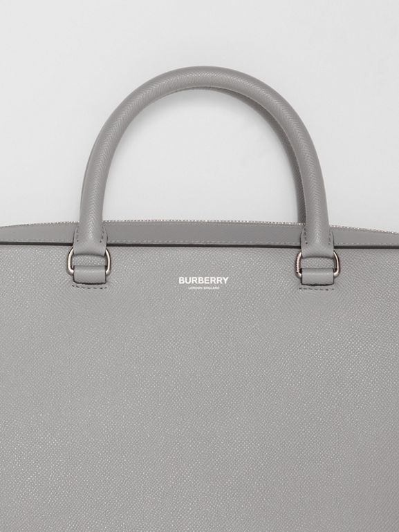 Grainy Leather Briefcase in Cloud Grey - Men | Burberry - cell image 1