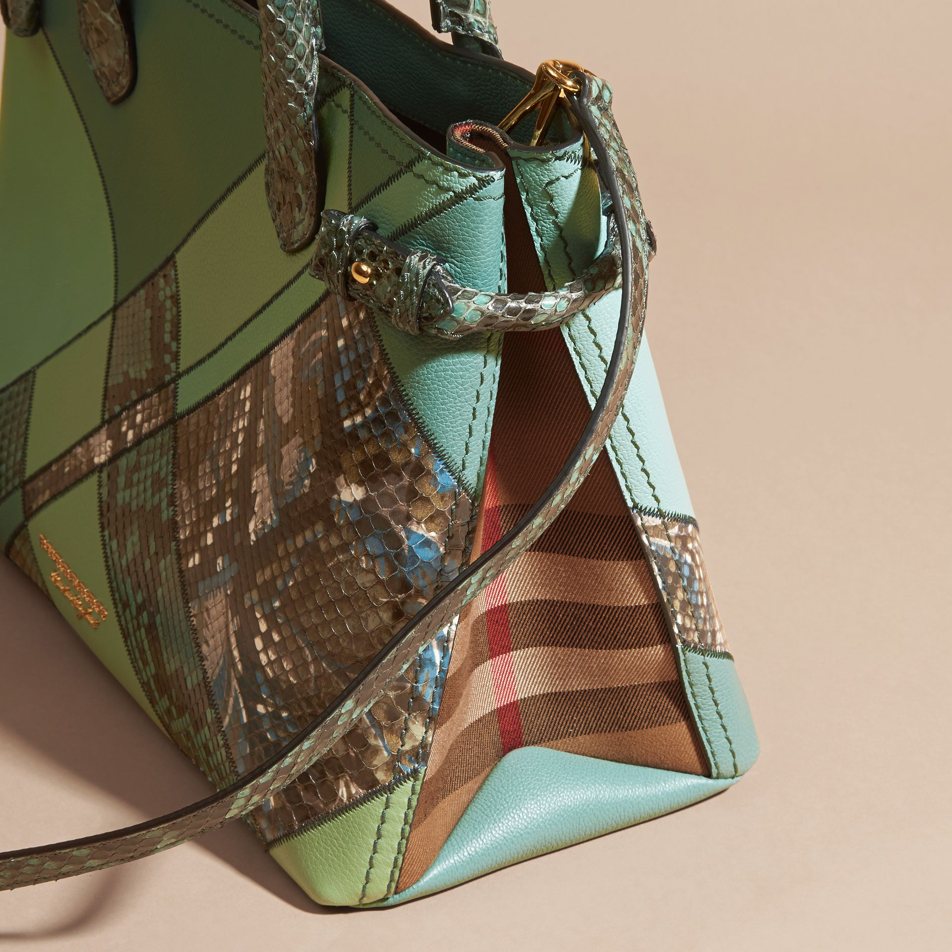 The Medium Banner in Patchwork Leather and Python Celadon Blue - gallery image 5