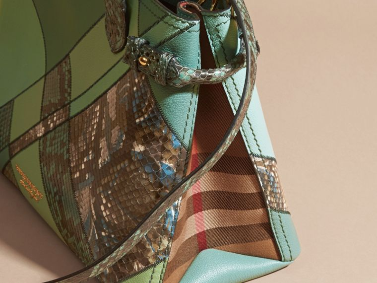 The Medium Banner in Patchwork Leather and Python Celadon Blue - cell image 4