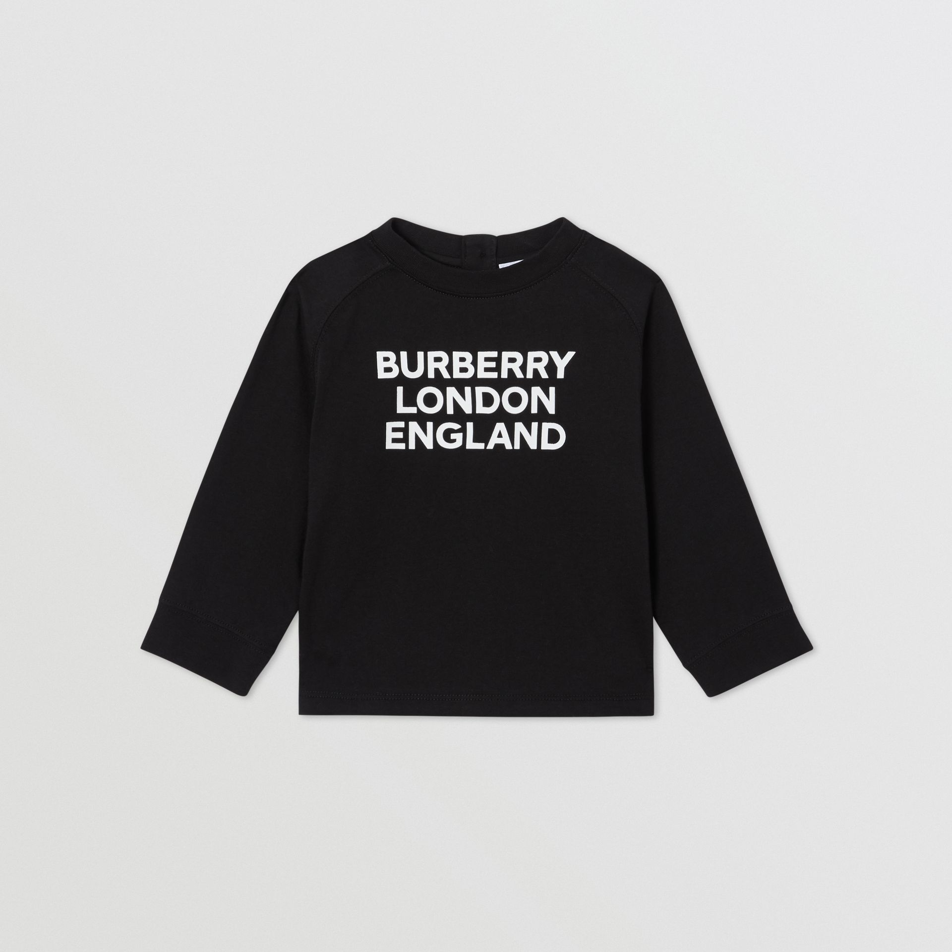 Long-sleeve Logo Print Cotton Top in Black - Children | Burberry United Kingdom - gallery image 0