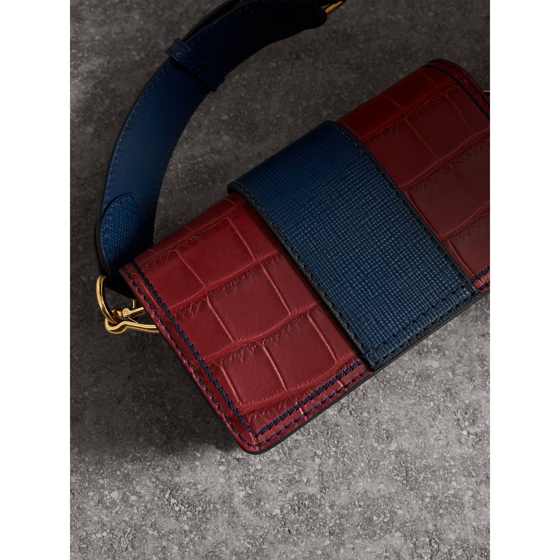 The Small Buckle Bag in Alligator and Leather in Garnet Red/sapphire - Women | Burberry - gallery image 5