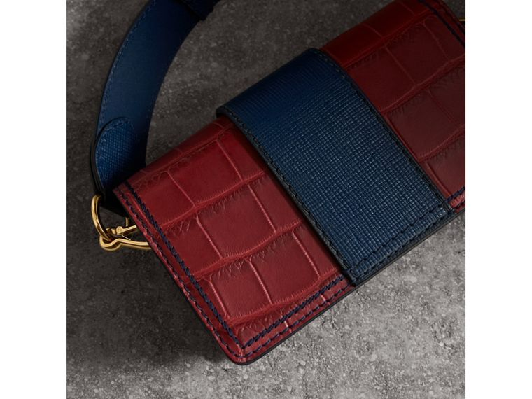 The Small Buckle Bag in Alligator and Leather in Garnet Red/sapphire - Women | Burberry - cell image 4
