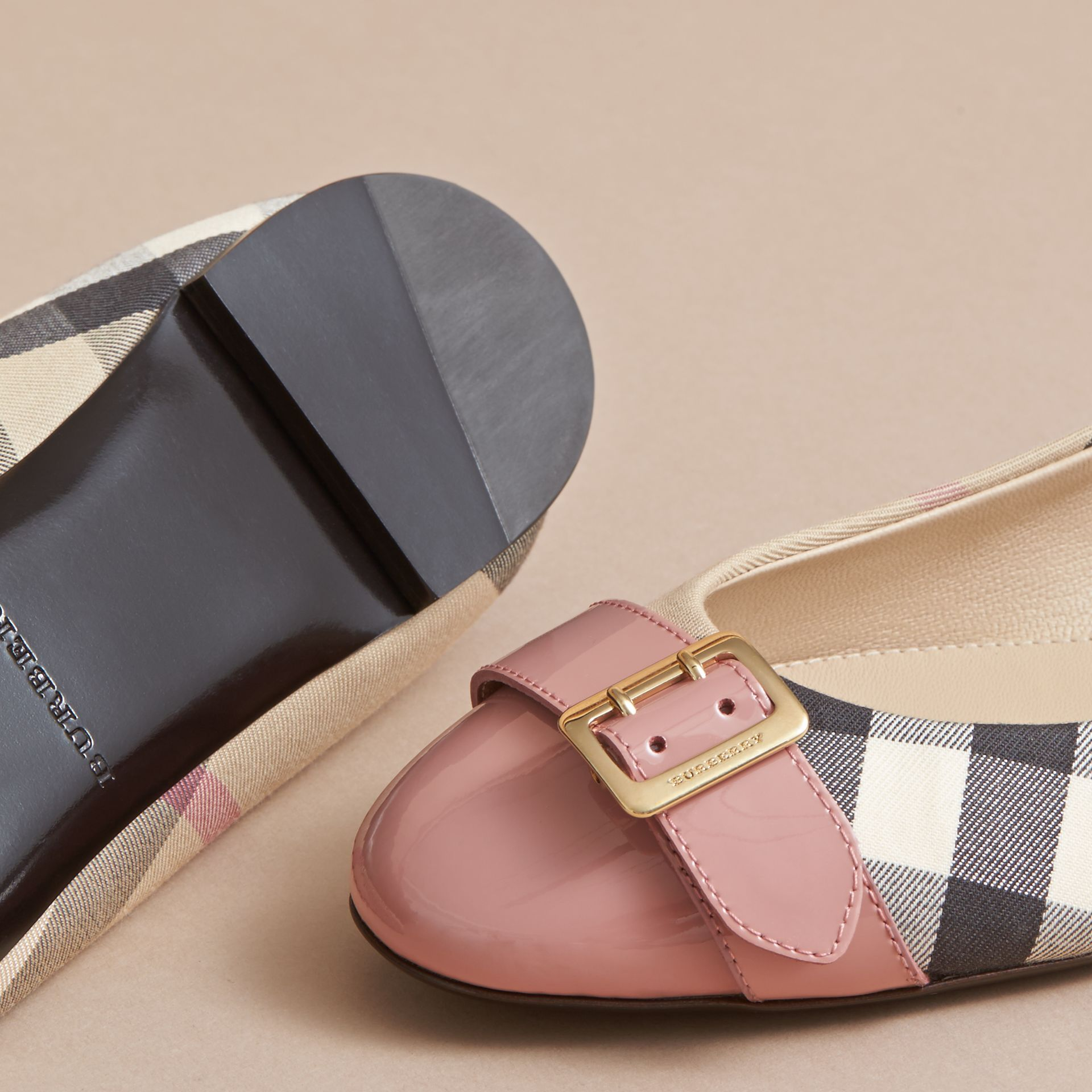 Buckle Detail Check and Patent Leather Ballerinas in Nude Pink - Women | Burberry - gallery image 5