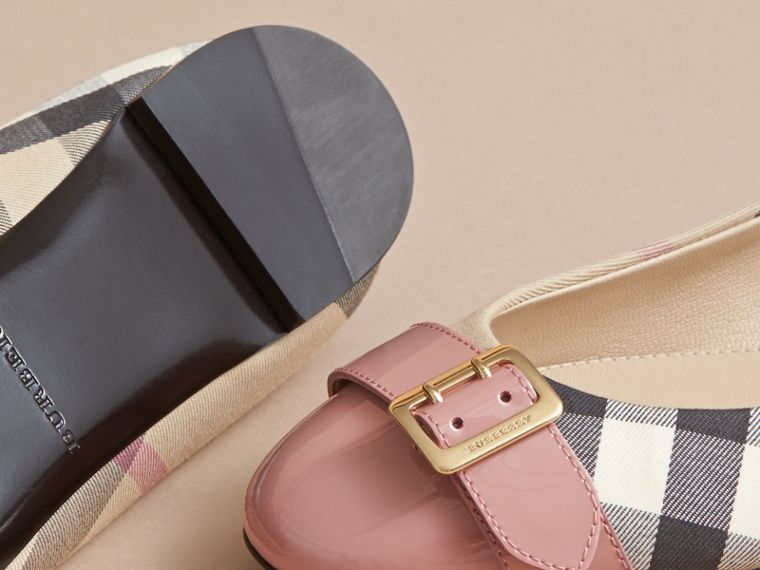 Buckle Detail Check and Patent Leather Ballerinas - Women | Burberry - cell image 4