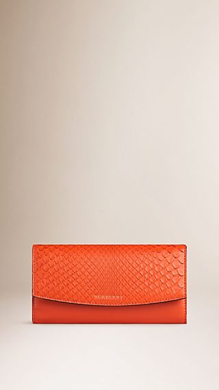 Python-Trim Leather Continental Wallet