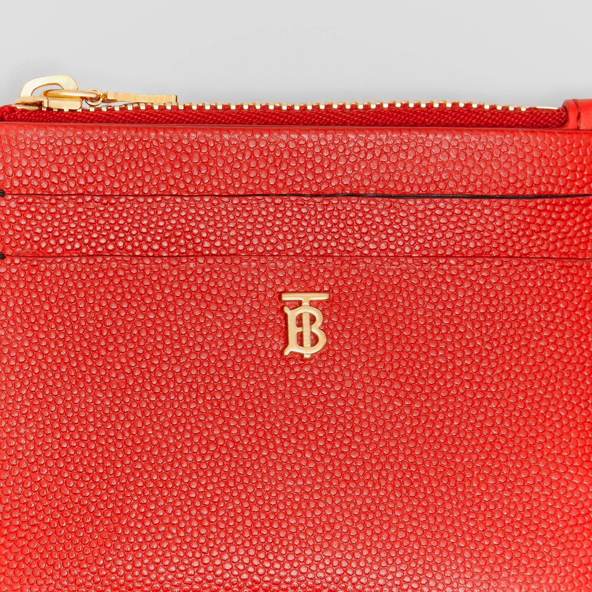 Monogram Motif Grainy Leather Zip Card Case in Bright Red - Women | Burberry Australia - gallery image 1