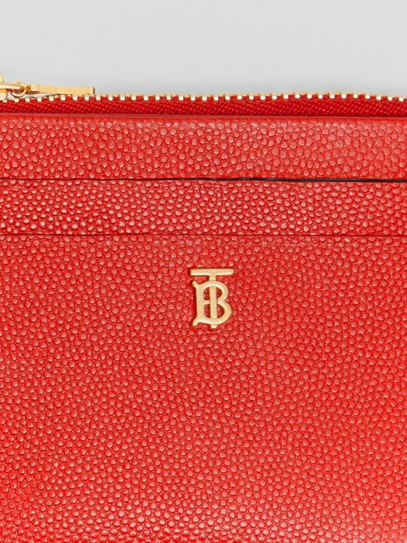 Monogram Motif Grainy Leather Zip Card Case in Bright Red - Women | Burberry - cell image 1