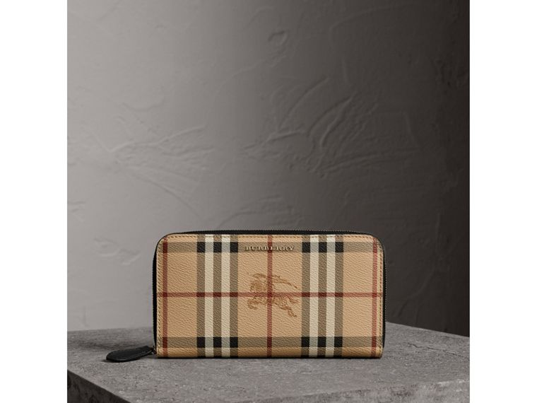 Haymarket Check and Leather Ziparound Wallet in Black - Women | Burberry - cell image 4