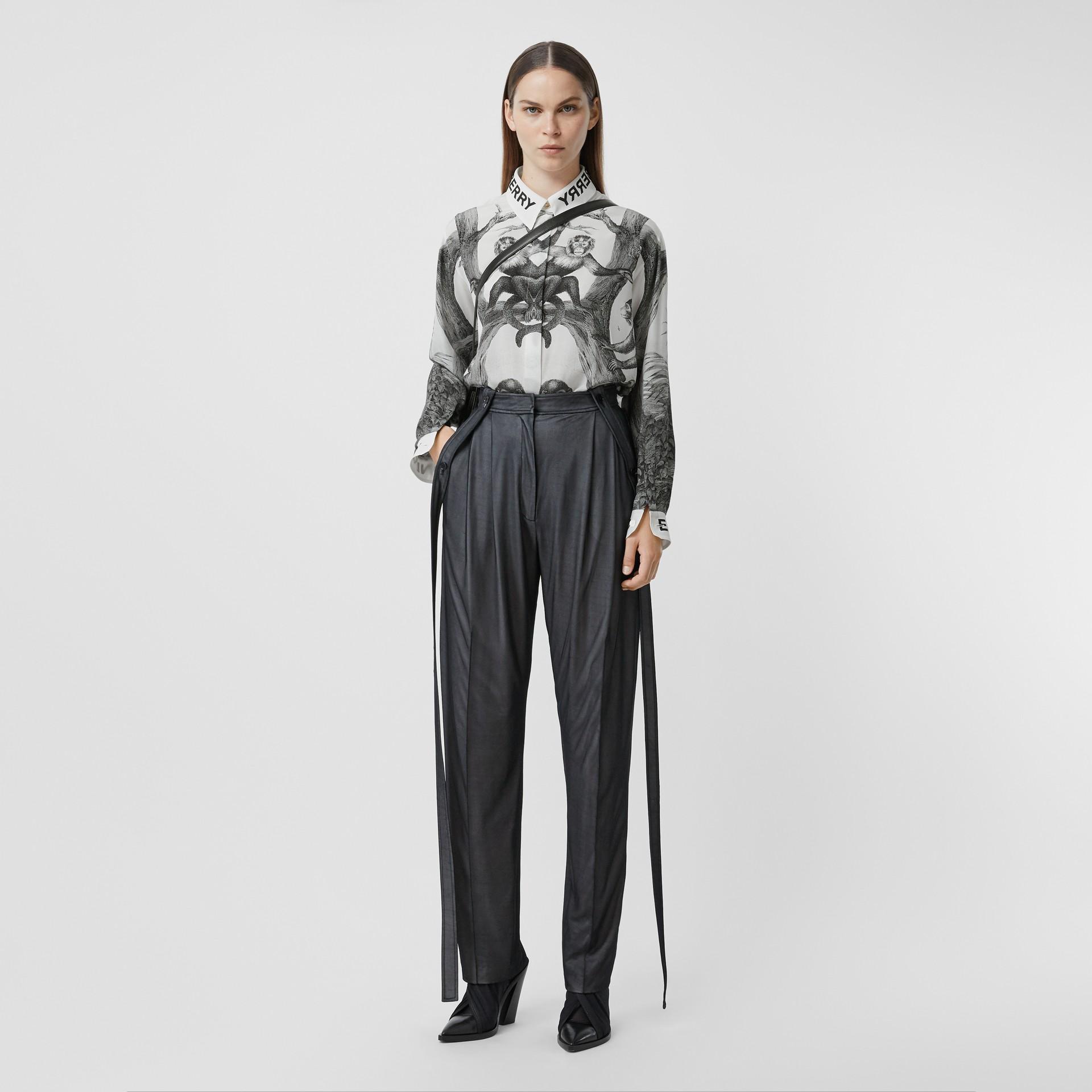 Montage Print Silk Shirt in Monochrome - Women | Burberry - gallery image 0