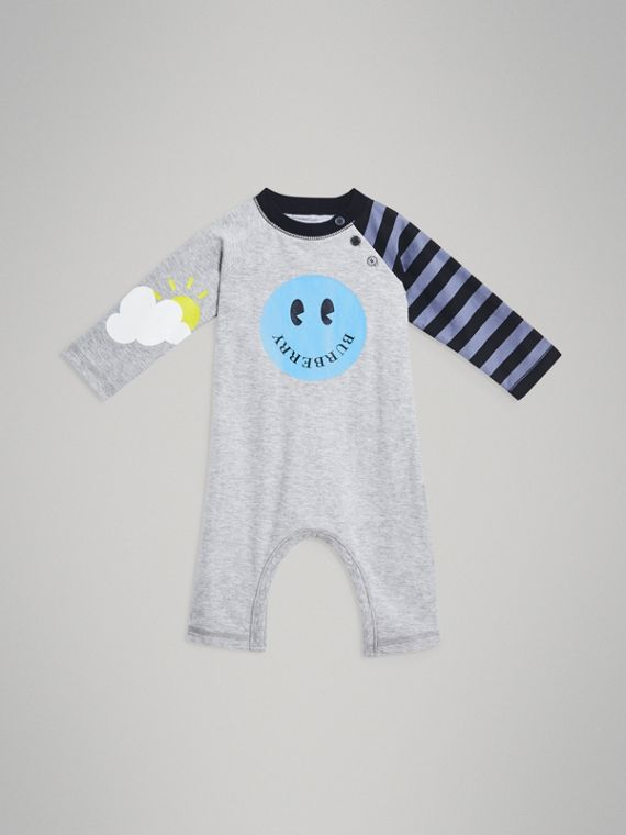 Smiley Face Print Cotton Jumpsuit in Grey Melange