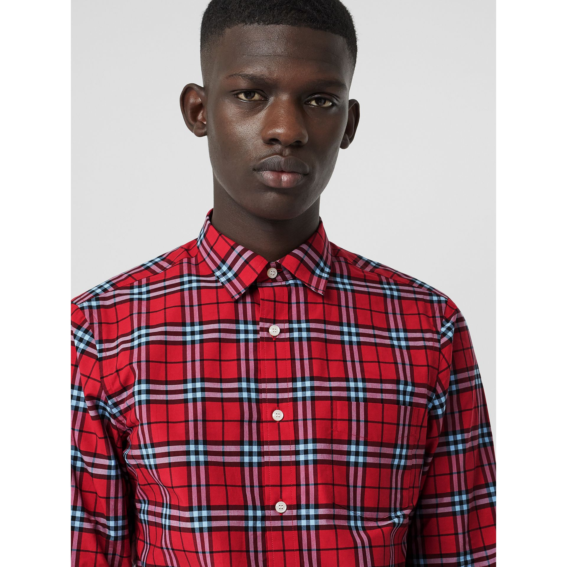 Check Cotton Shirt in Bright Red - Men | Burberry - gallery image 1