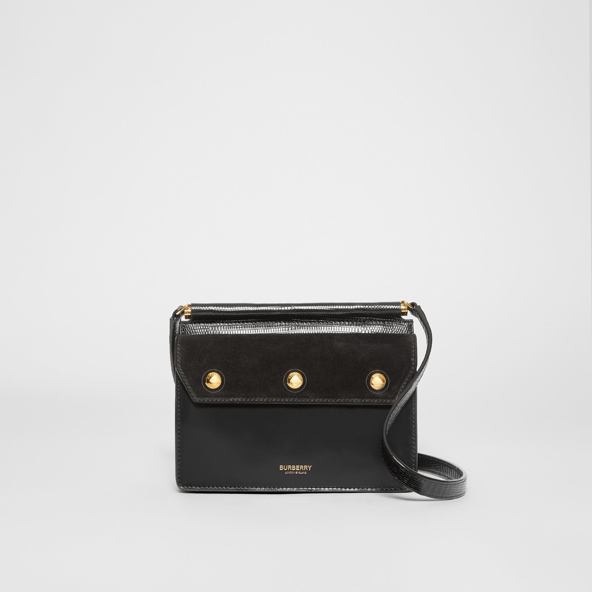 Mini sac Title en cuir et cuir velours avec poche (Noir) - Femme | Burberry - photo de la galerie 0