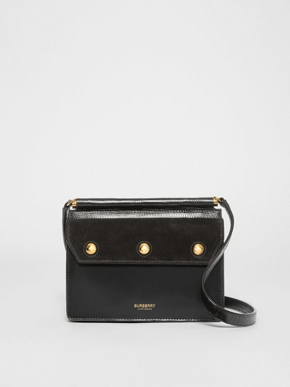 Mini Suede and Leather Title Bag with Pocket Detail in Black