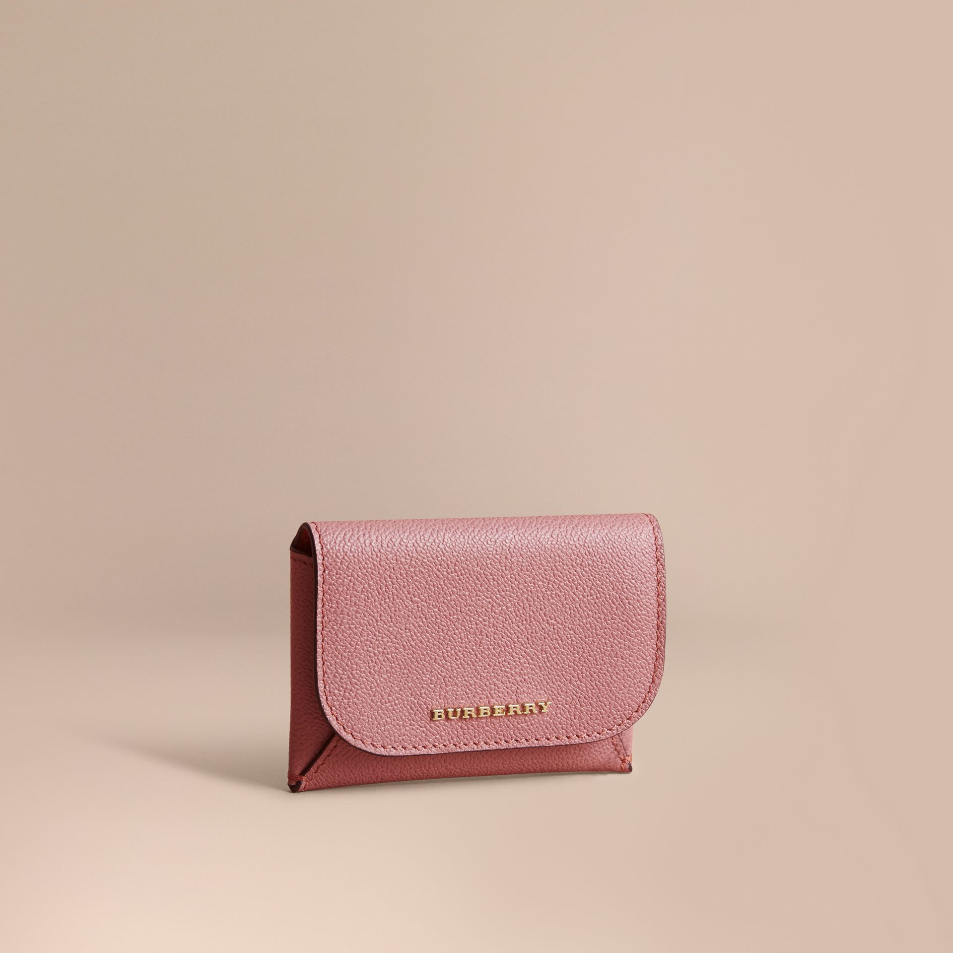 Leather Coin Case with Removable Card Compartment in Dusty Pink/multi - Women | Burberry - gallery image 0
