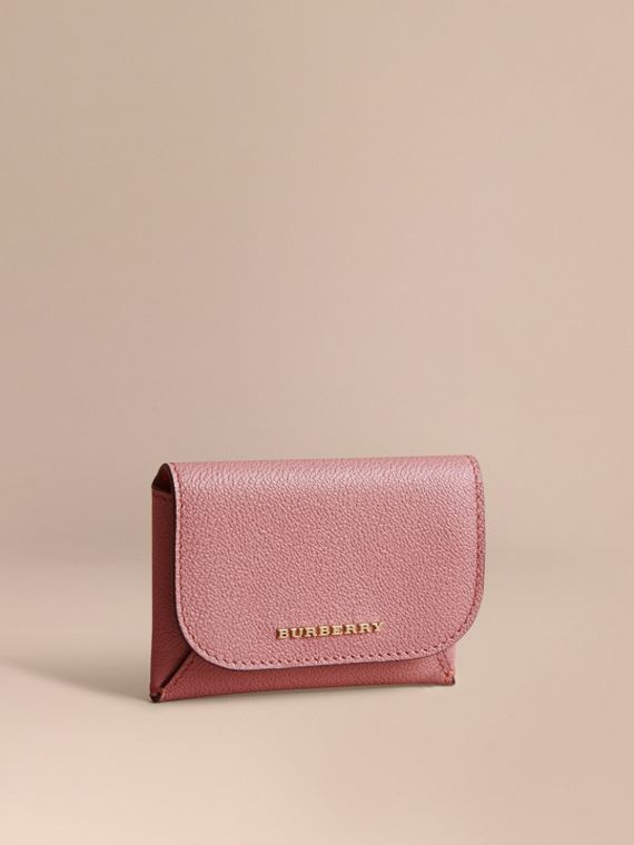 Leather Coin Case with Removable Card Compartment in Dusty Pink/multi