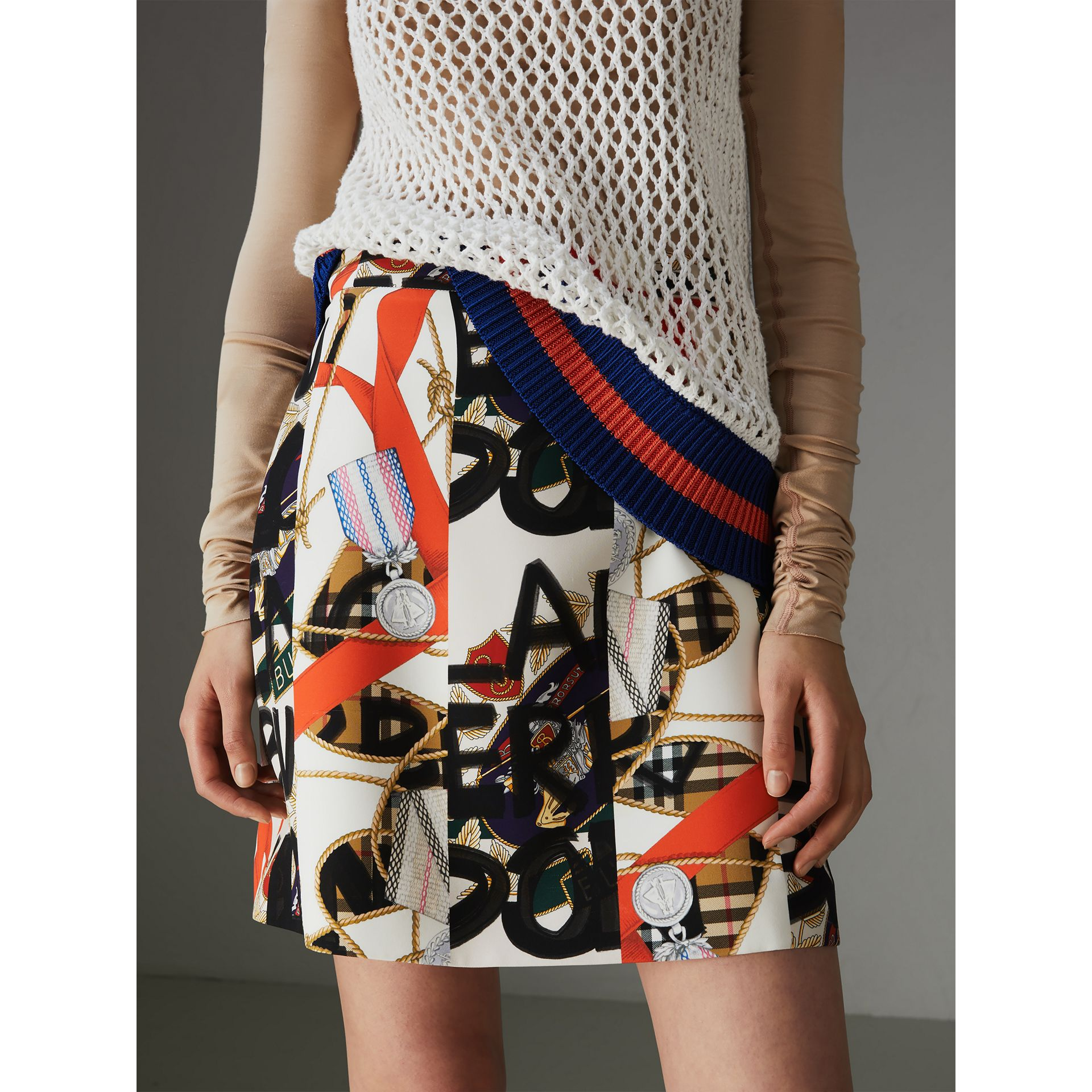 Graffiti Archive Scarf Print Silk Wool Mini Skirt in Stone - Women | Burberry Australia - gallery image 4