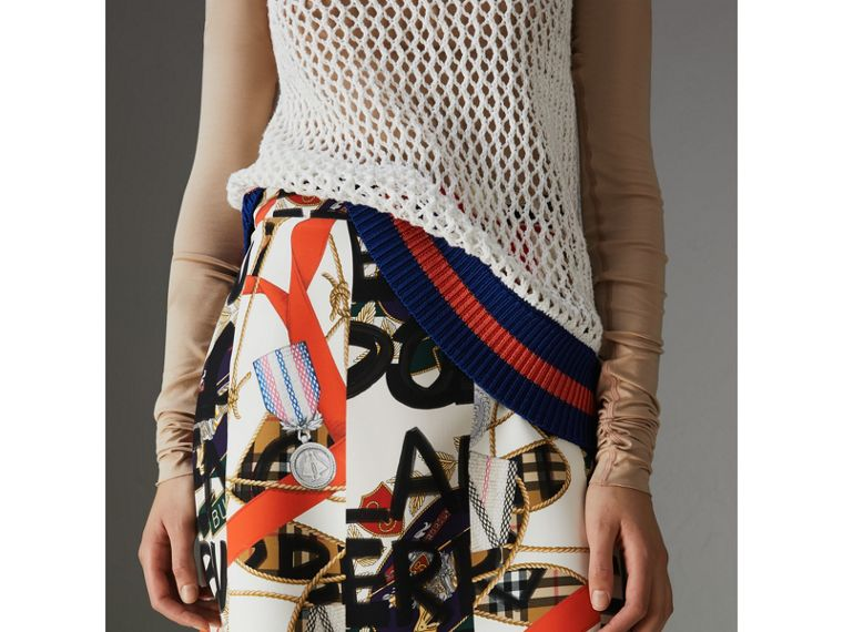 Graffiti Archive Scarf Print Silk Wool Mini Skirt in Stone - Women | Burberry Australia - cell image 4