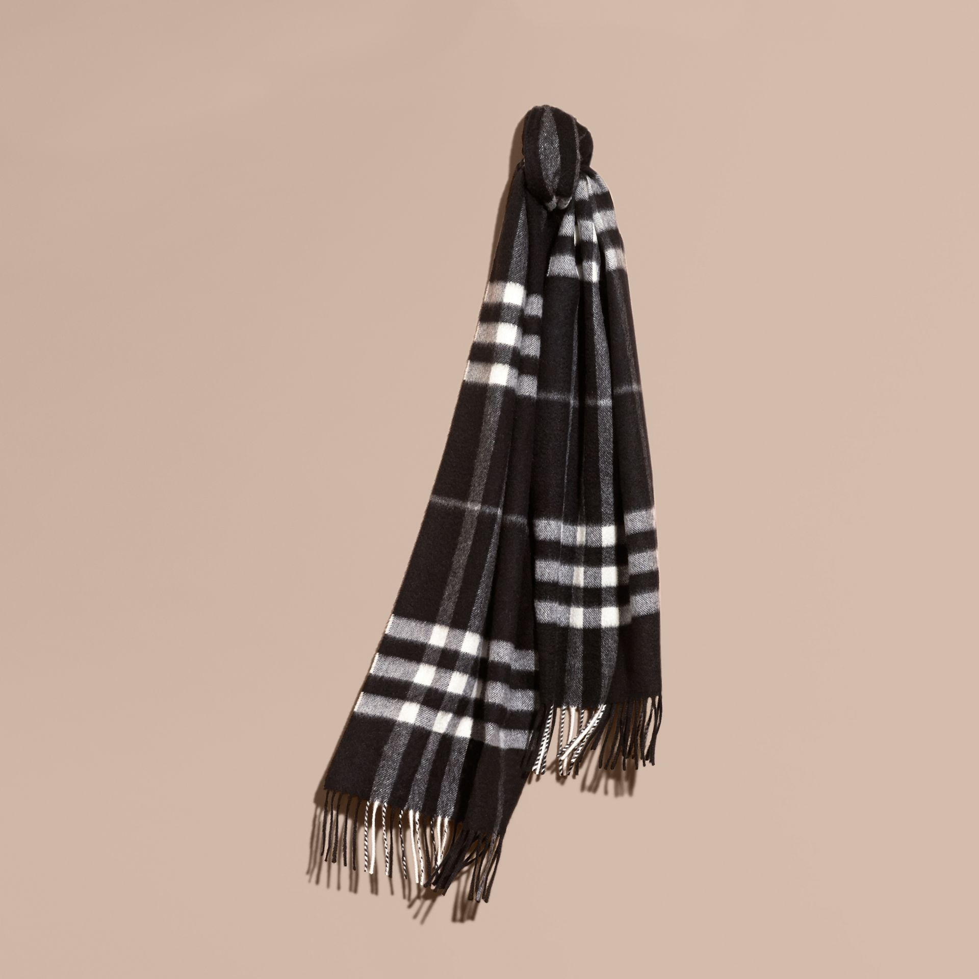 The Classic Cashmere Scarf in Check  Black - gallery image 6
