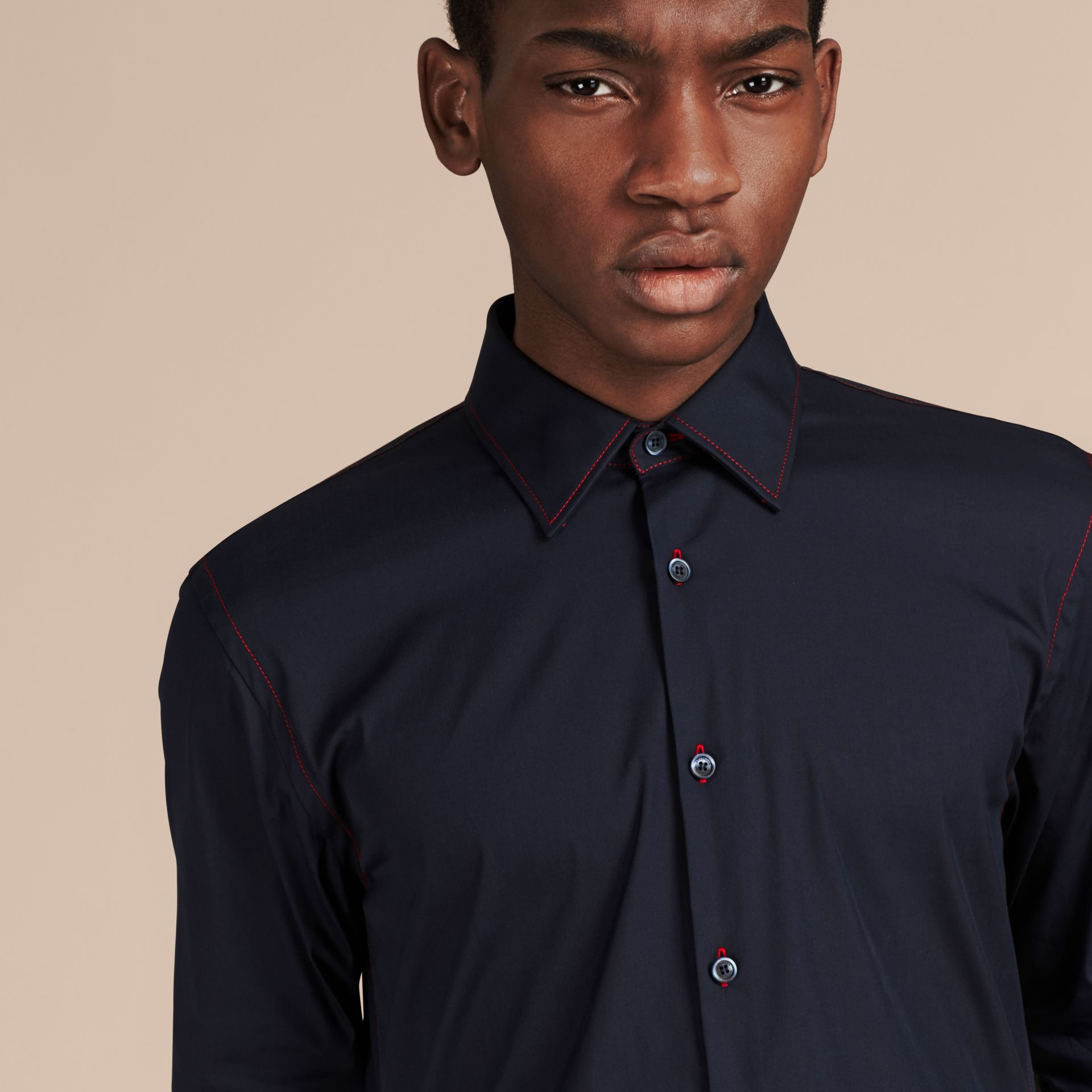 Navy Contrast Topstitch Stretch Cotton Shirt Navy - gallery image 2