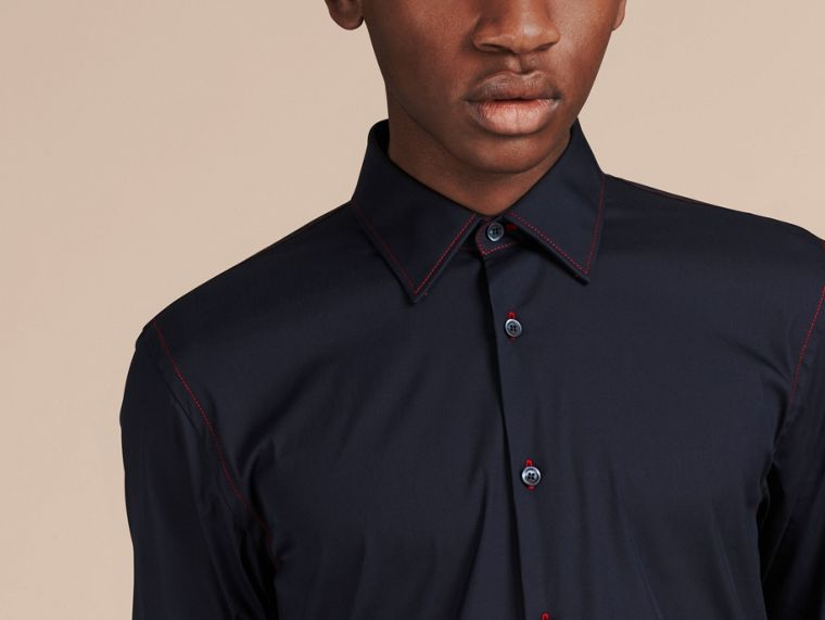 Navy Contrast Topstitch Stretch Cotton Shirt Navy - cell image 1