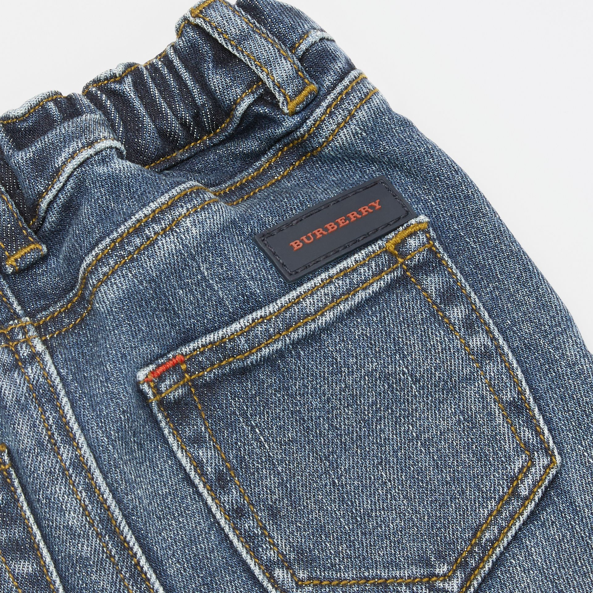 Relaxed Fit Stretch Denim Jeans in Mid Indigo - Children | Burberry - gallery image 1