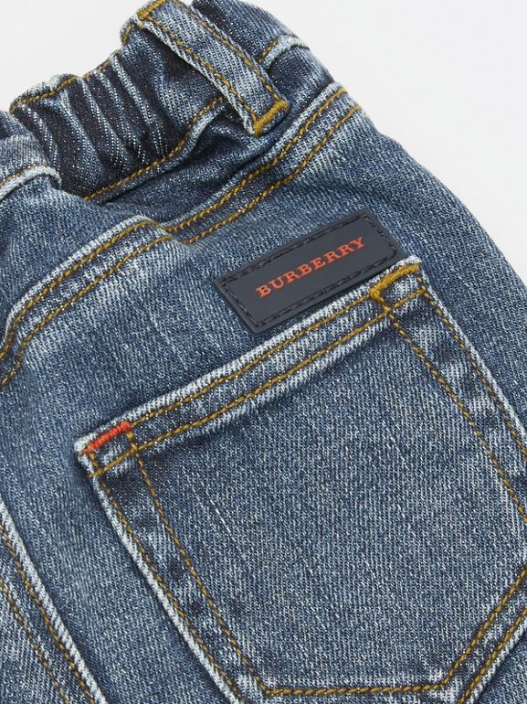 Relaxed Fit Stretch Denim Jeans in Mid Indigo - Children | Burberry - cell image 1