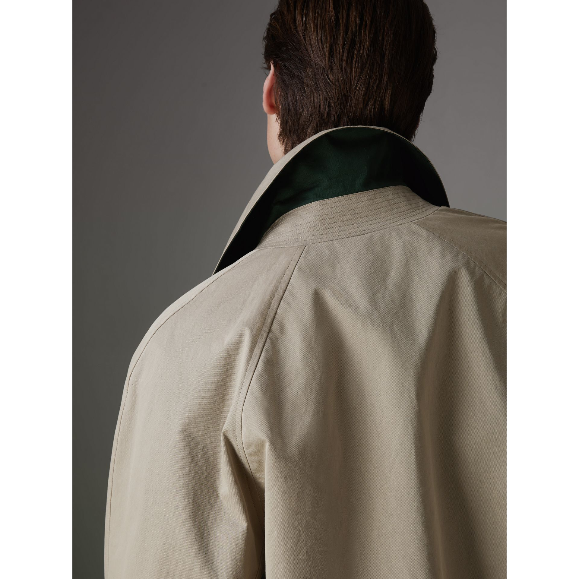 Reissued Waxed Cotton Gabardine Car Coat in Khaki - Men | Burberry - gallery image 5