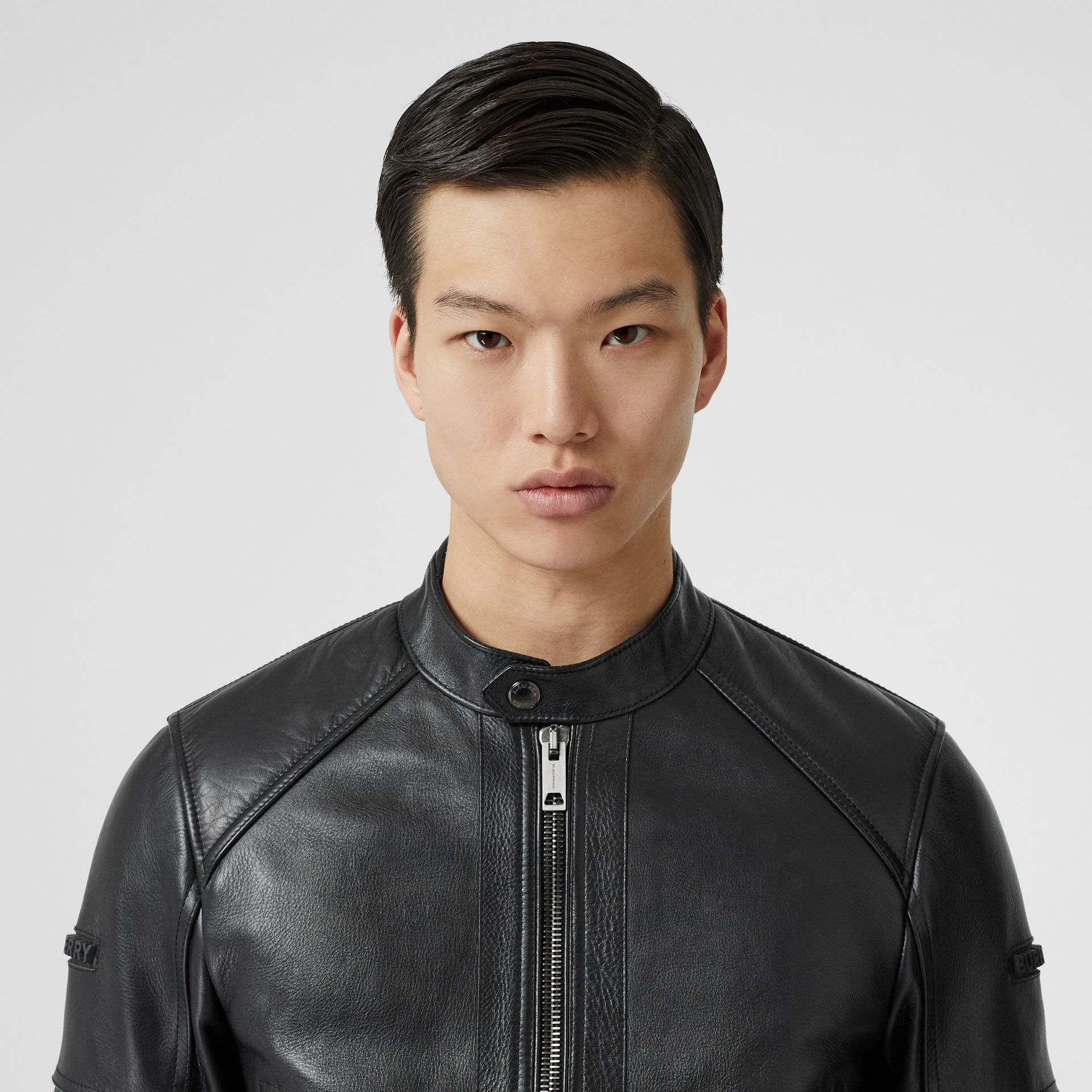 Leather Bomber Jacket in Black - Men | Burberry Singapore - gallery image 7