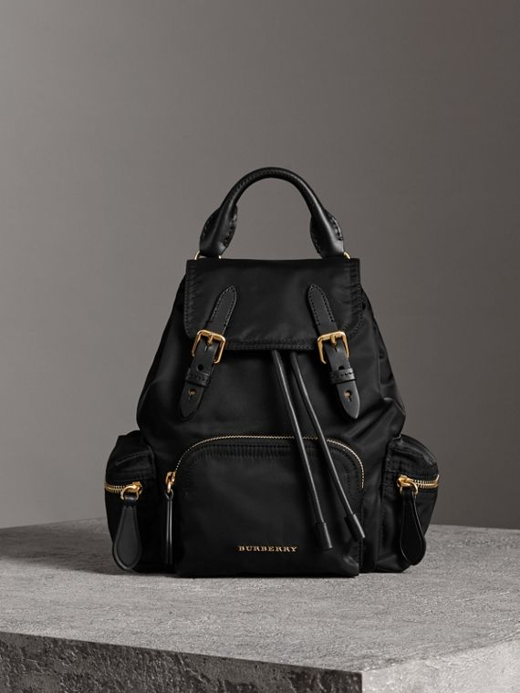 The Crossbody Rucksack in Nylon and Leather in Black