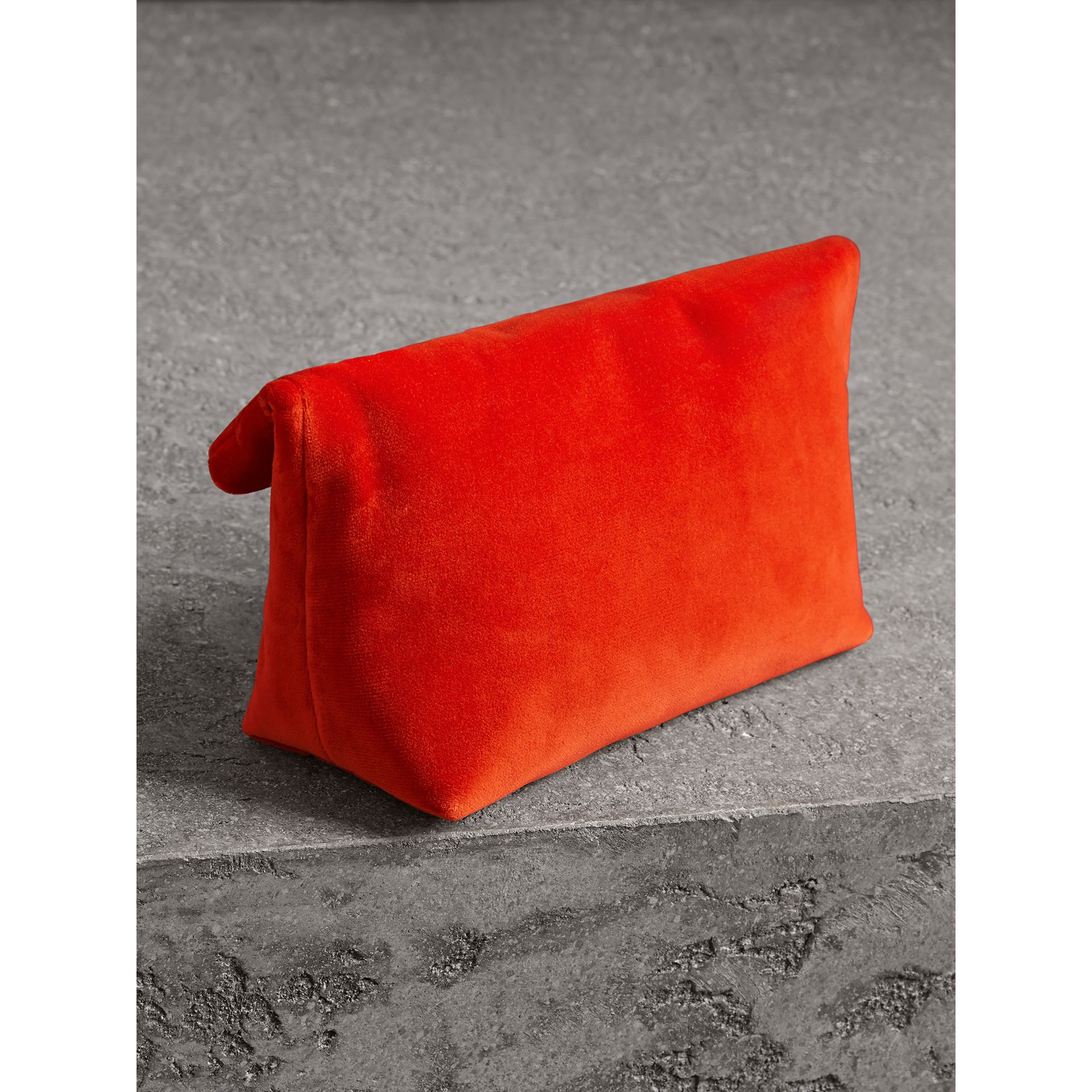 The Small Pin Clutch in Velvet in Orange Red - Women | Burberry United Kingdom - gallery image 2