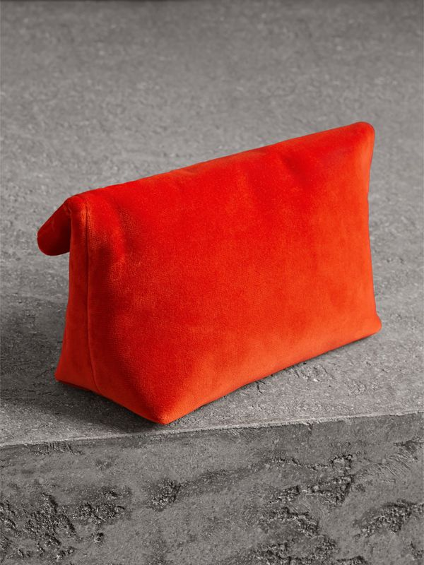 The Small Pin Clutch in Velvet in Orange Red - Women | Burberry United Kingdom - cell image 2
