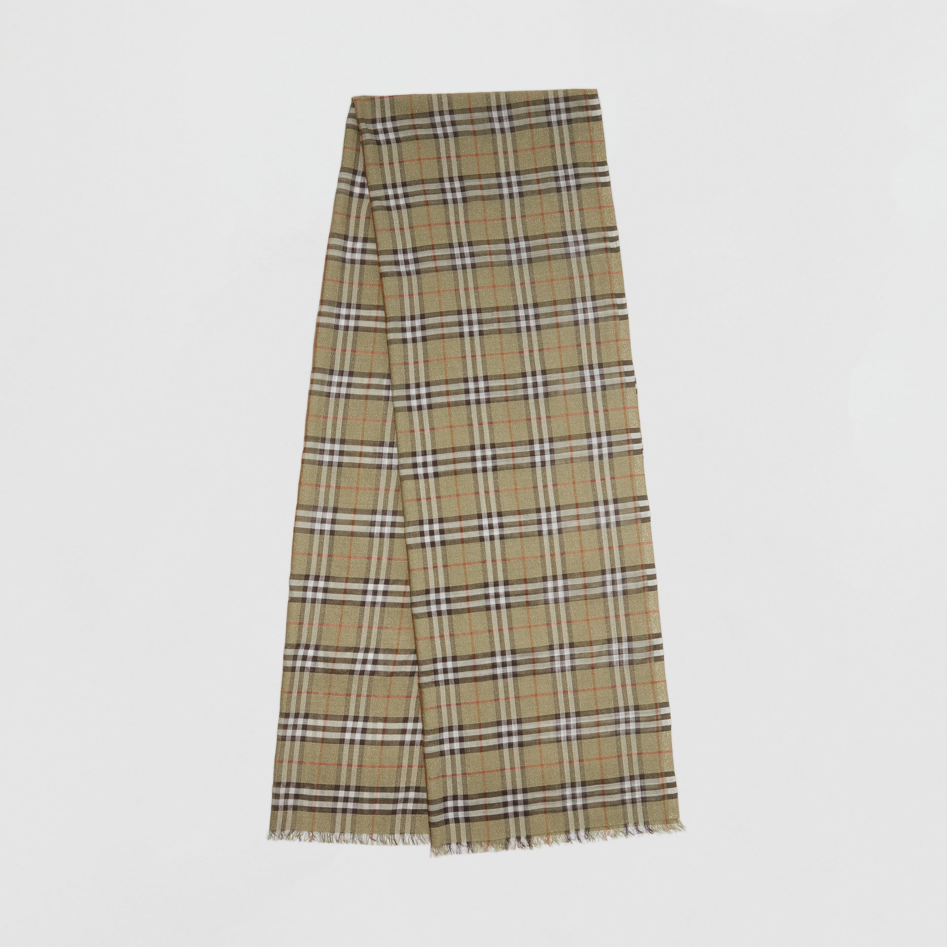 Metallic Vintage Check Wool Silk Blend Scarf | Burberry United Kingdom - gallery image 0