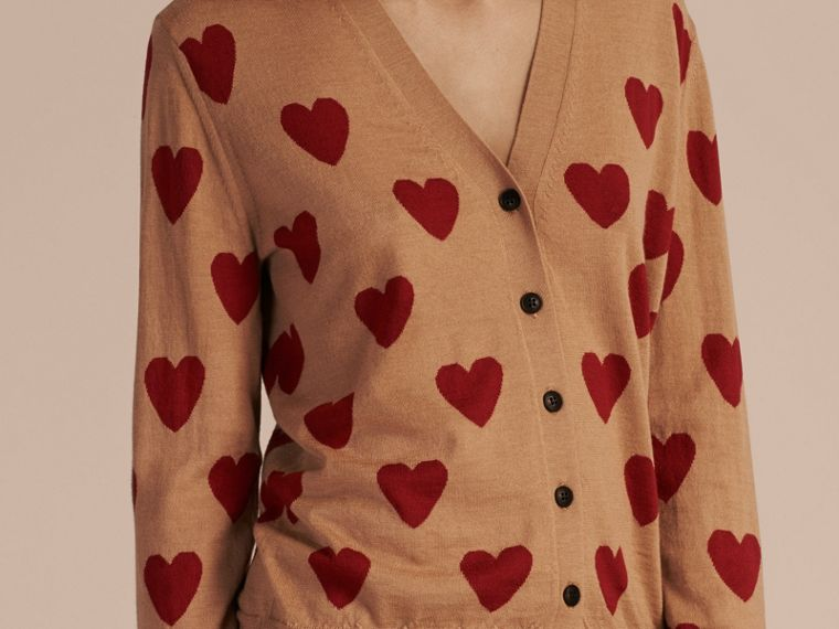Heart Intarsia Merino Wool Cardigan in Camel - cell image 2