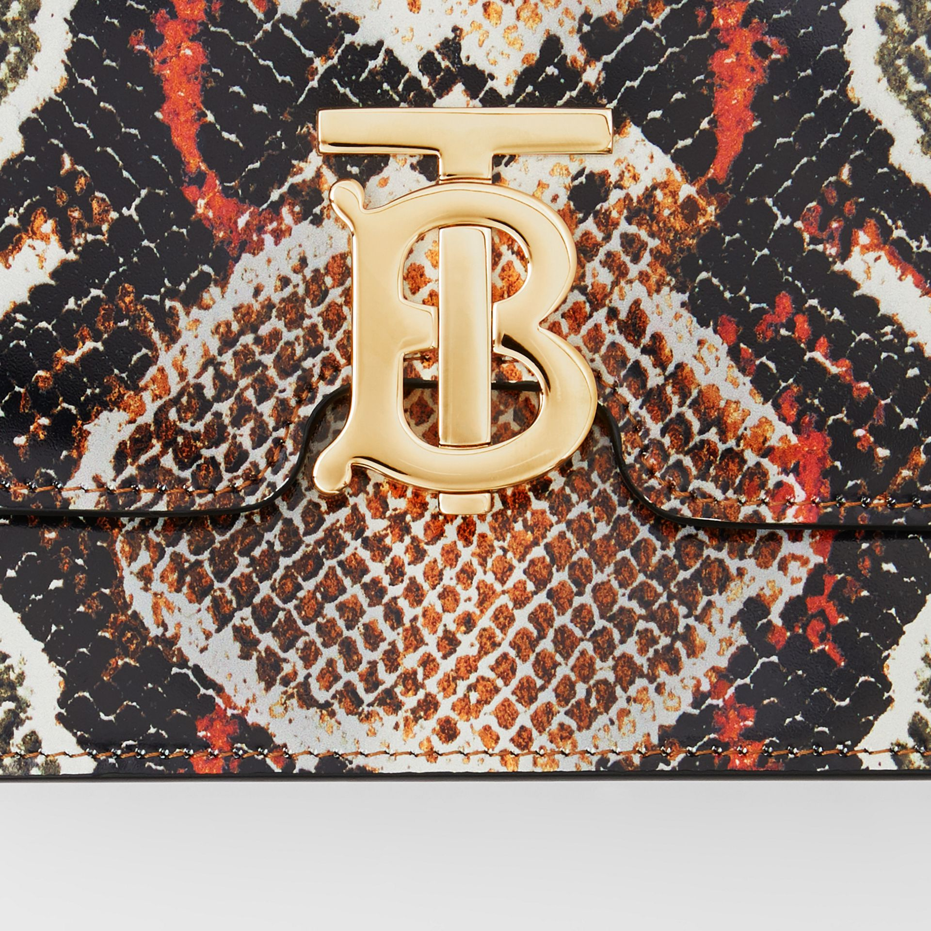 Small Python Print Leather TB Bag in Soft Cocoa - Women | Burberry - gallery image 1