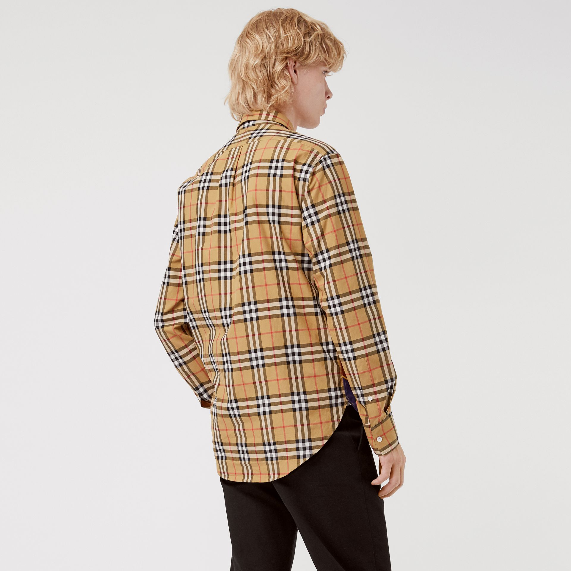 Vintage Check and Archive Scarf Print Shirt in Antique Yellow - Men | Burberry Australia - gallery image 2
