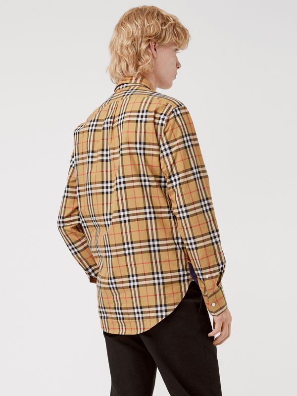 Vintage Check and Archive Scarf Print Shirt in Antique Yellow - Men | Burberry United States - cell image 2