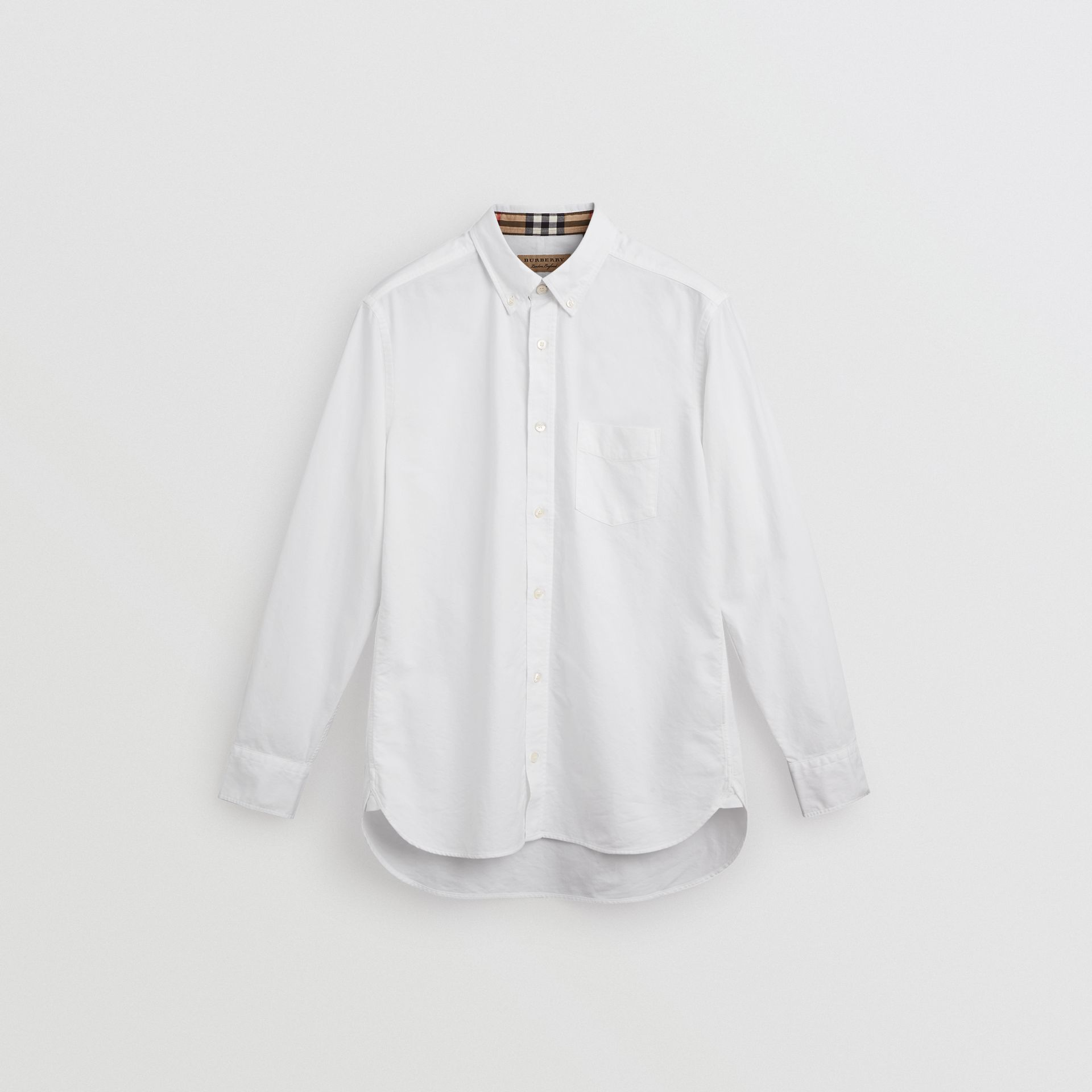 Check Cuff Cotton Oxford Shirt in White - Men | Burberry Australia - gallery image 3
