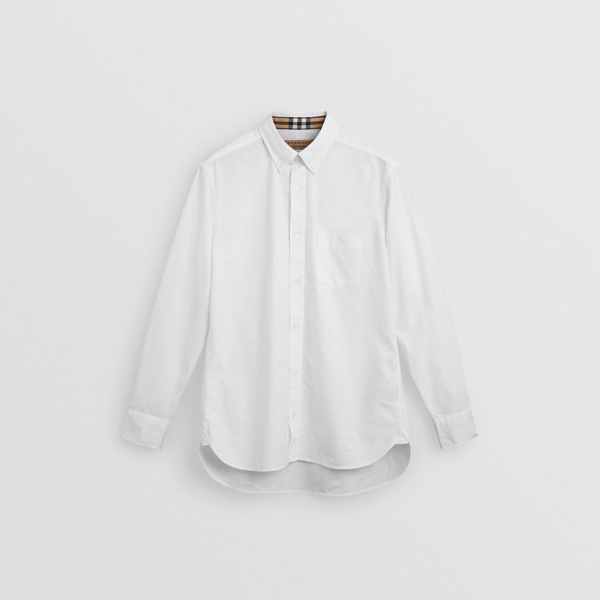 Check Cuff Cotton Oxford Shirt in White | Burberry United Kingdom - 4