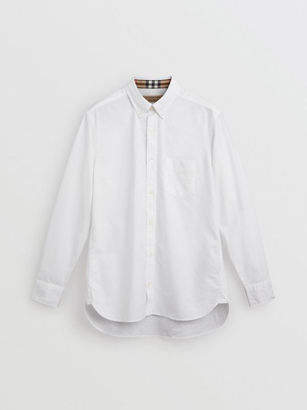 Check Cuff Cotton Oxford Shirt in White - Men | Burberry Australia - cell image 3