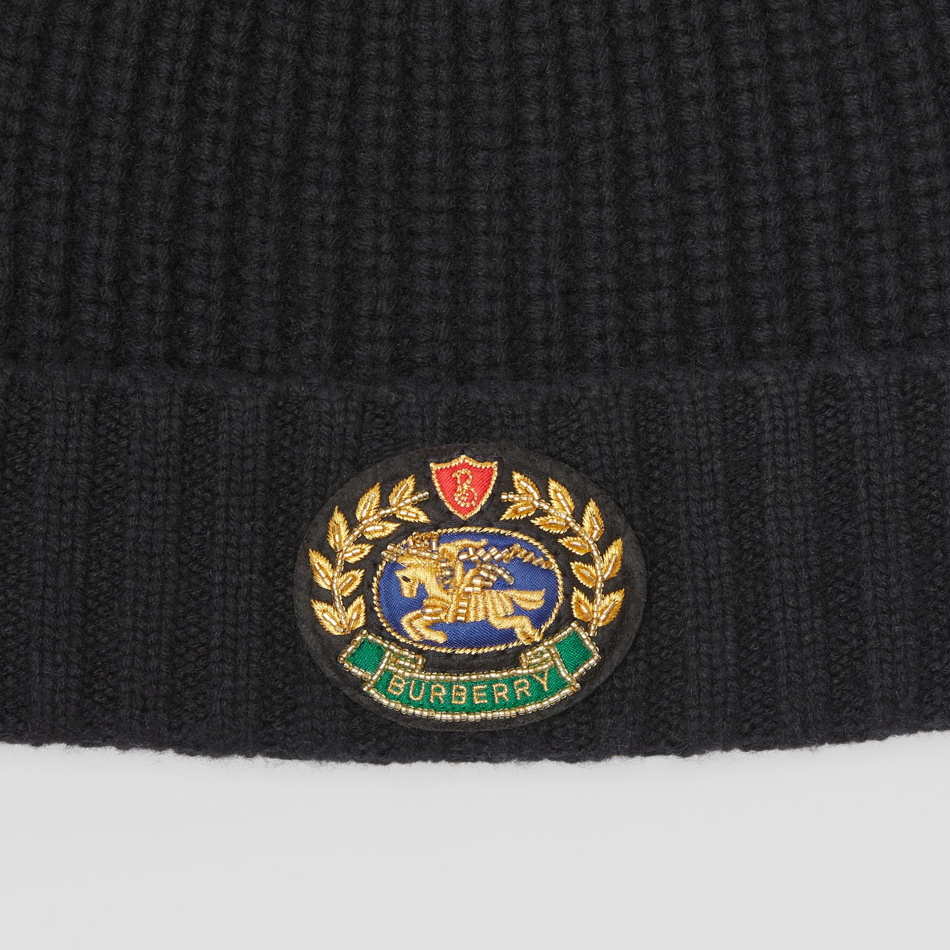 Embroidered Crest Rib Knit Wool Cashmere Beanie in Black | Burberry - gallery image 1