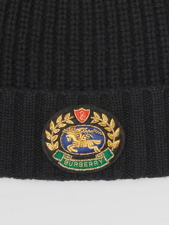 Embroidered Crest Rib Knit Wool Cashmere Beanie in Black | Burberry - cell image 1