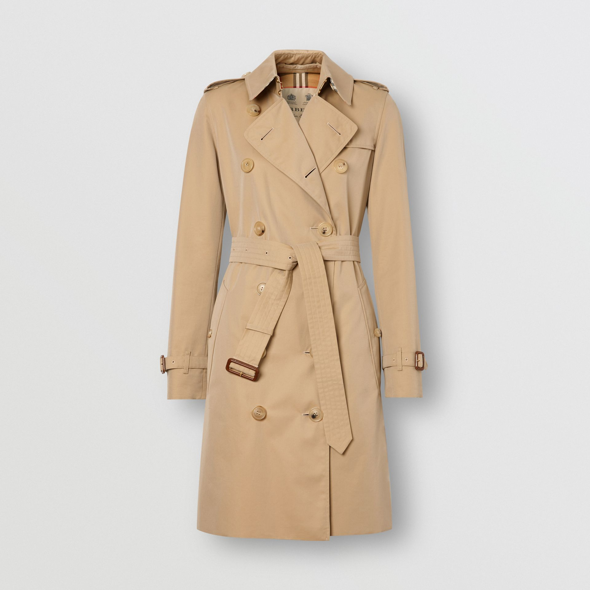 The Mid-length Kensington Heritage Trench Coat in Honey - Women | Burberry United Kingdom - gallery image 3