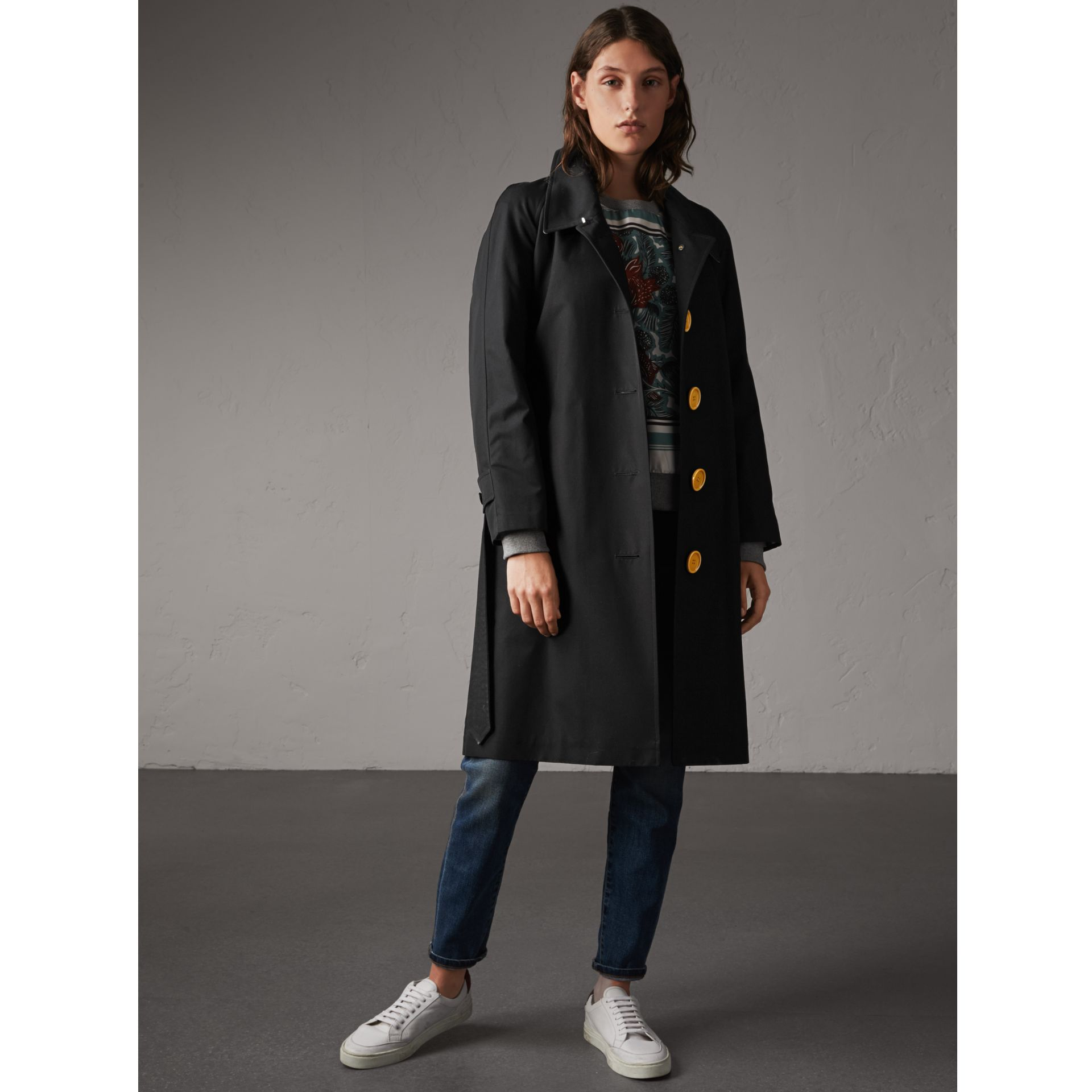 Resin Button Cotton Gabardine Trench Coat in Black - Women | Burberry United Kingdom - gallery image 1