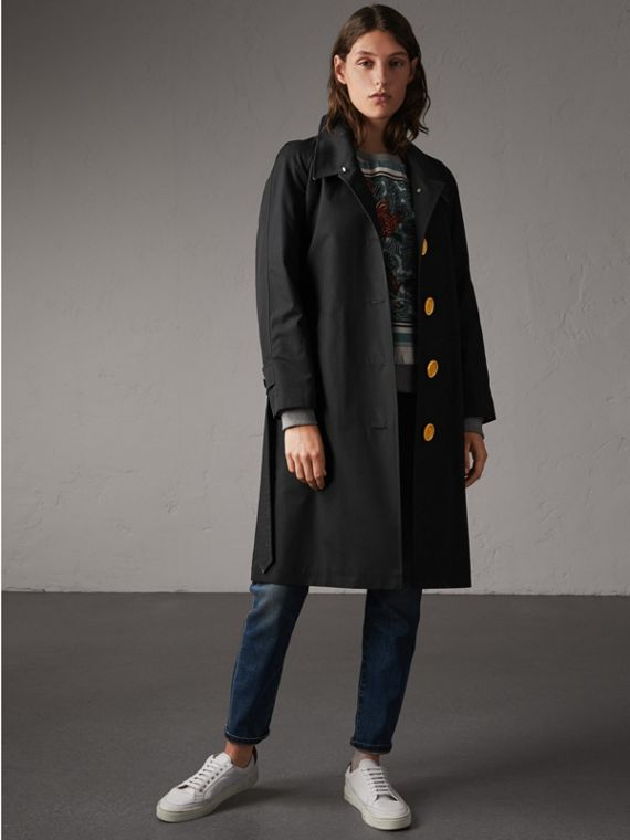 Resin Button Cotton Gabardine Trench Coat in Black